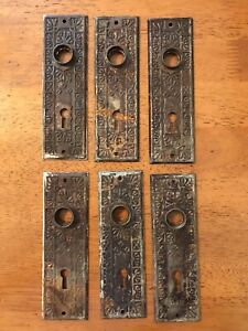 Antique Steel Door Knob Door Plates Matching Set of 6 Reclaimed for Restoration