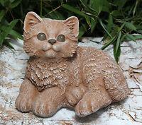 Steinfigur Katze sitzend Terrakotta Steinguss Gartenfigur Gartendeko Dekofigur