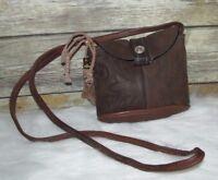 Vntg Dan Post Brown Boot Leather Western Style Purse Shoulder Bag CrossBody