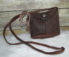 Vntg Dan Post Brown Boot Leather Western Style Purse Shoulder Bag CrossBody