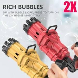 2X Automatic Gatling Bubble Gun Fun Toys Rich Bubble Machine Play Games For Kids