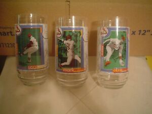 """Set of 3 St. Louis Cardinal """"Legendary Players"""" Glasses – Never Used"""
