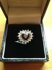 Heart Diamond & Blue Sapphire Cluster Ring size O