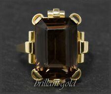 Gold Ring, 12ct großer Rauchquarz, 585 Gelbgold, 14 Karat, Handarbeit um 1950