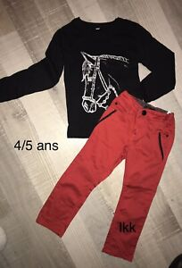 IKKS 4 / 5 Ans Fille : Ensemble pantalon rouge + t shirt noir cheval TBE