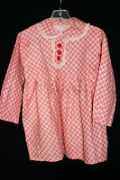 VERY RARE FRENCH DEADSTOCK 1930'S GIRLS RED & WHITE PRINT COTTON DRESS SIZE 2-3