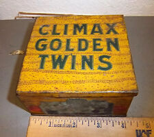 Vintage Climax Golden twins tobacco tin, great graphics & colors, 4x4x2 inches