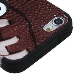 iPod Touch 5th 6th 7th Gen - HARD&SOFT IMPACT ARMOR HYBRID CASE BROWN FOOTBALL