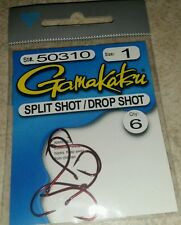 Gamakatsu 50310 Size 1 Red Split Shot / Drop Shot Fishing Hooks Qty. 6