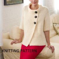 "(461) Ladies Cardigan Copy Knitting Pattern, Easy Knit in Aran yarn, up to 54"""