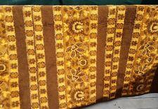 """Vintage Wool 61"""" x 84"""" Blanket Throw Brown Floral Vines Pattern Reversible Print"""