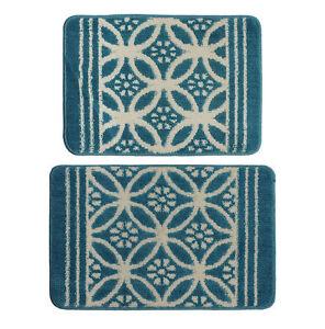 2-Piece Cotton Non -Skid Bath Rug Set Tufted Thick Washable Bathmat Ocean Blue
