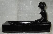 Art Deco nymph card desk  ashtray ring soap dish in black amethyst all glass USA