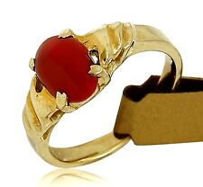 Women's .69 ct Natural Mediterranean Coral 14k SOLID Yellow Gold
