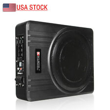 10'' 600W Car Audio Slim Under Seat Active Powered Enclosure Subwoofer Amplifier