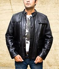 Men's T5 Terminator Genisys Arnold Biker Black Leather Jacket size Small-5XL