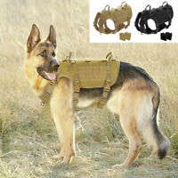 Military Tactical Dog Training Harness MOLLE No Pull Service Vest for PITBULL