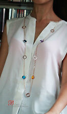 Long Necklace Chain Multicolored Round Blue Amber Purple Class End MYL 1