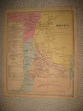 Antique 1869 Bristol Hartford County Connecticut Handcolored Map Detailed Rare