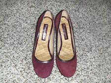 EUC tibao aucheho pure leather suede plum step in heel shoes,brown accent Sz 6