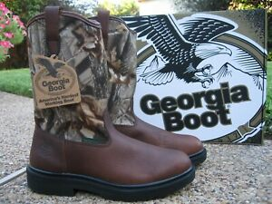New Mens Georgia Boot Brown Leather with Camo Top Waterproof Work Boots GB00502
