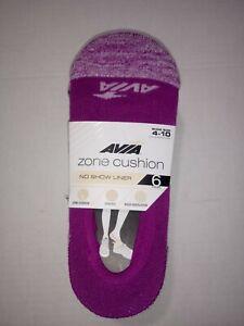 Avia Women's 6 Pack Zone Cushion No Show Liner Socks Shoe Size 4-10 NEW