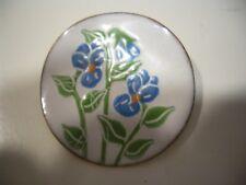 "Floral Round Pin Brooch 1.5"" Vintage Art Nouveau Enamel On Brass"