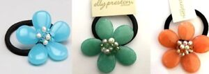 Designer Elly Preston Sherbert Collection Floral Pony Tail Hairband Blue Green