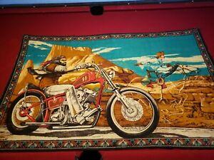 "Vintage David Mann Easy Rider Ghost Rider Tapestry 53"" x 44"""