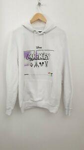 Disney At Primark Mickey Mouse & Friend White Hoodie Jumper - Size M