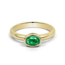 Emerald Solitaire Oval Yellow Gold Fine Gemstone Rings