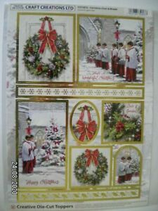 Beautiful Die Cut Toppers by Craft Creations  'Christmas Choir & Wreath' (X47) M