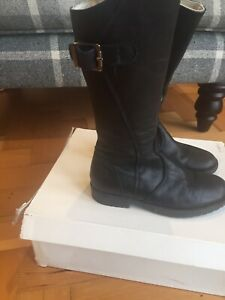 russell and bromley Girls  Storm BlackLeather  Zip Boots UK 2 EU 35 New
