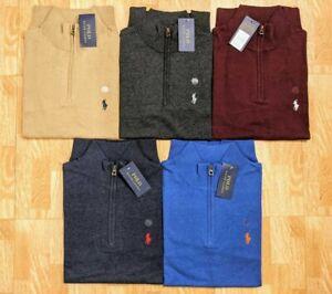 Ralph Lauren zip  Neck Cotton Long Sleeve Jumper sweatshirt on sale
