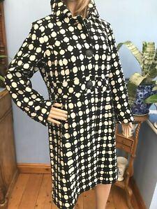 Planet Black & White Mix Wool Blend Mid Length Jacket Coat Size 14