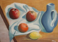 Fauvist oil painting still life with fruits and jug signed