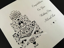 Handmade Personalised Congratulations On Your Wedding Day Card -  Wedding Cake