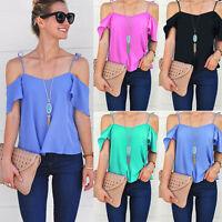 Fashion Women Off Shoulder Top Ladies Short Sleeve Chiffon Blouse Summer T Shirt