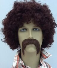 BROWN CURLY AFRO STYLE FANCY DRESS WIG & DROOP BIKER SELF ADHESIVE MOUSTACHE.