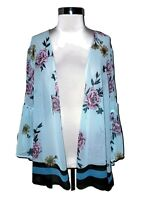 NEW LANE BRYANT Plus Size 2X 18 20 Jacket Cardigan Top Blue Floral 3/4th Sleeve