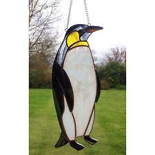 Handmade Stained Glass Penguin Suncatcher Noir Blanc Verre Jaune