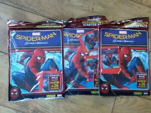 3 x Panini SPIDERMAN HOMECOMING starter pack album plus 26 stickers in each