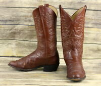Panhandle Slim Cowboy Boots Brown Leather Mens Size 10 D Classic Western Vintage
