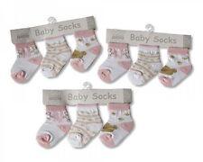 Chaussettes pour bébé rose filles coton riche taille 0 - 2 -- 3 paires
