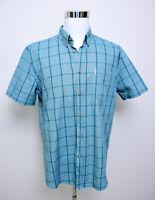 Ben Sherman Mens Short Sleeve Button Up Shirt * Size XXL Green Check 100% Cotton