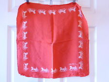"Vintage Silk Scarf 17.5""x17.5"" Celine Red Carriage"