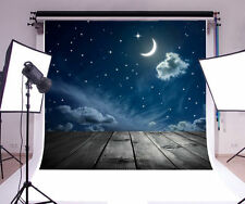 Clouded Moon Stars Cartoon Photography Background 6x6ft Vinyl Photo Backdrop