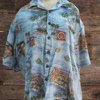 Vintage Hilo Hatties Hawaiian Mod Aloha Shirt Palm Floral Surf Hawaii Size XL