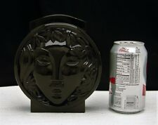 M. Model French Art Deco Glass Black Vase with Figural Face Signed