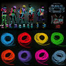 10ft Neon LED Light Glow EL Wire String Strip Rope Tube Car Party + Controller